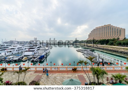 HONG KONG - 11 FEB 2016: Hong Kong Gold Coast is a private housing estate. It includes 20 residential buildings, a resort hotel, a shopping mall, a yacht and country club, a marina and a beach.