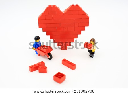 HONG KONG, FEB 14:  lego mini characters and bricks which are isolated on white in hong kong on 14 february 2014. Lego minifigure are the successful line in Lego products - stock photo