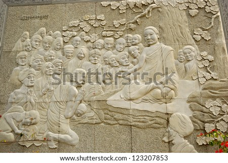 HONG KONG - FEBRUARY 11: Relief of the Buddha in the Western Monastery on February 11, 2007, at Tsuen Wan, Hong Kong. Buddhism in Hongkong is widespread and practiced daily by the local people.