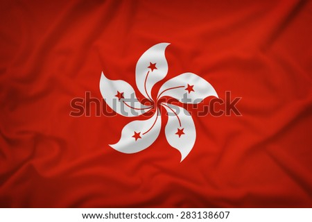 Hong Kong flag on the fabric texture background,Vintage style