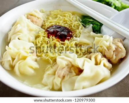 Hong Kong food, wonton noodle - stock photo