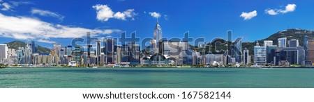 Hong Kong harbour at day  - stock photo