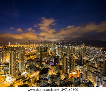 Hong Kong high-rise buildings night scape - stock photo