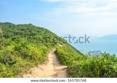 Hong Kong hiking trail scenery - Dragon's Back - stock photo
