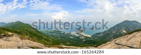 Hong Kong hiking trail scenery panorama - Dragon's Back - stock photo