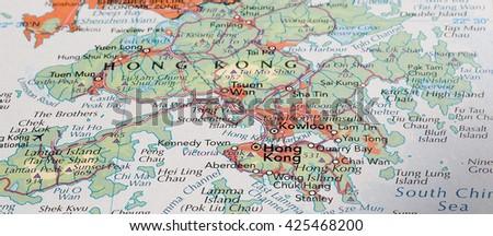 HONG KONG, HONG KONG - CIRCA MAY 2016: Detail of a map of the city with selective focus on town name - stock photo