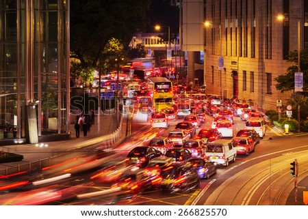 Hong Kong, Hong Kong SAR -November 13, 2014: Heavy traffic during the evening  rush hour in Central Hong Kong.