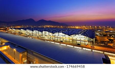 Hong Kong International Airport at the evening  - stock photo