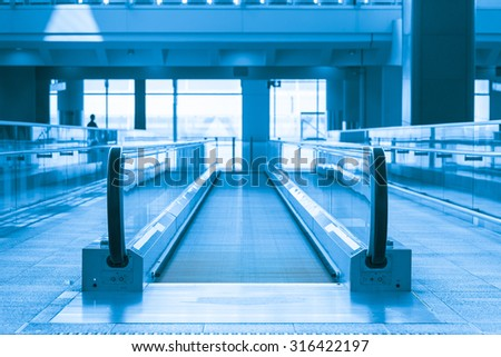 Hong Kong International Airport, Hong Kong - July 13, 2015: The escalator in Terminal 1 in Hong Kong International Airport, where is one of the busiest airport in the world.