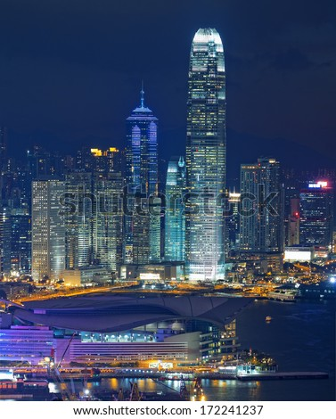 Hong Kong Island night, modern city