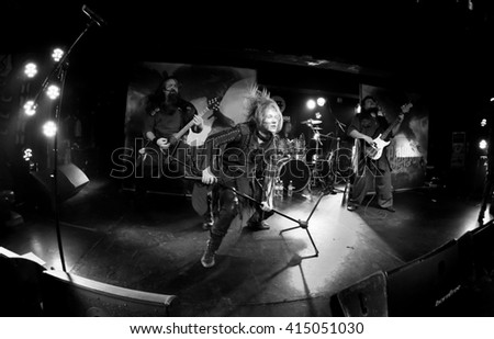 HONG KONG - Jan 14, 2016 Arkona show, a Russian pagan metal band, whole group performed on stage - stock photo