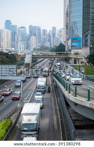 HONG KONG, JAN 14 : the cars is in queue in the traffic jam in Central on 14 january 2016 - stock photo