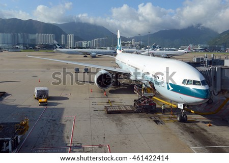 HONG KONG, JULY 2016. Cathay Pacific jet airplane at Hong Kong International airport, which is the gateway to China and broader Asia and has the largest cargo throughput of any airport.