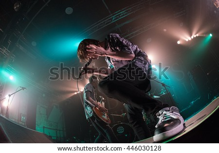 HONG KONG - Jun 16, 2016 Bless the Fall show, the opening Japanese band KEEP YOUR HANDs OFF MY GIRL performed on stage - stock photo