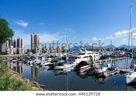 HONG KONG - 19 JUN 2016: Hong Kong Gold Coast is a private housing estate. It includes 20 residential buildings, a resort hotel, a shopping mall, a yacht and country club, a marina and a beach.