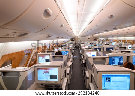 Emirates business class seat stock images royalty free for Airbus a380 emirates interior
