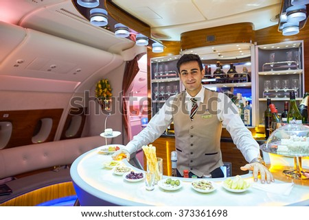 HONG KONG - JUNE 18, 2015: Emirates Airbus A380 business class interior. Emirates is one of two flag carriers of the United Arab Emirates along with Etihad Airways and is based in Dubai. - stock photo
