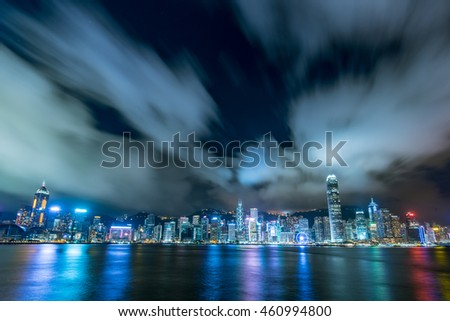 HONG KONG - JUNE 1st, 2016 : The Victoria Harbor in Hong Kong is world-famous for its dramatic panoramic night view.