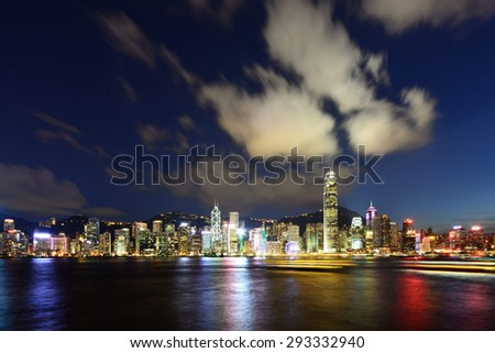 HONG KONG - JUNE 16, 2015 : The Victoria Harbour in Hong Kong is world-famous for its dramatic panoramic night view.