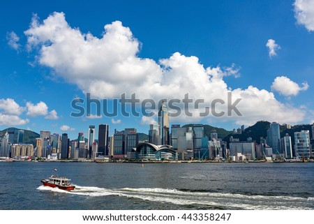 HONG KONG - June 22, 2016: Victoria Harbor and Hong Kong Island Skyline. Hong Kong is one of the most densely populated City.