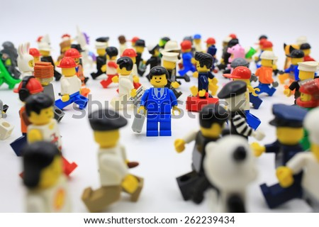 HONG KONG,MARCH 1: lego mini characters  which are isolated on white in hong kong on 1 March 2015. Lego minifigure are the successful line in Lego products - stock photo