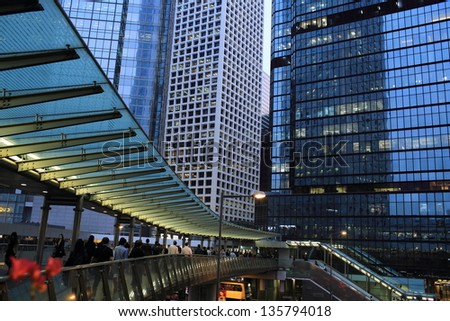 HONG KONG - MARCH 13:The pedestrians are busy under the office towers in Central on March 13, 2013. in 2013 Index of Economic Freedom that created by The Heritage Foundation, Hong Kong is the top rank