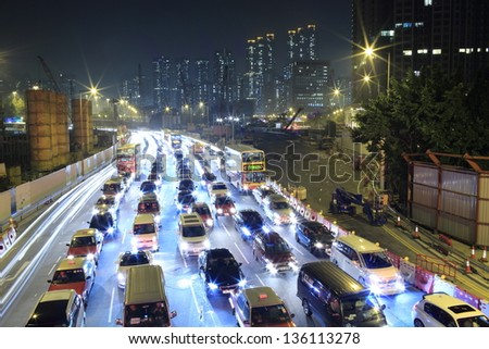HONG KONG - MARCH 22: traffic jam surround the West Kowloon Terminus site in Kowloon on march 22 2013,it will be the terminus of the Hong Kong Section of Guangzhou-Shenzhen-Hong Kong Express Rail Link - stock photo
