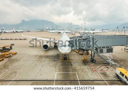 HONG KONG - MARCH 08, 2016: view from Hong Kong International Airport terminal. Hong Kong International Airport is the main airport in Hong Kong