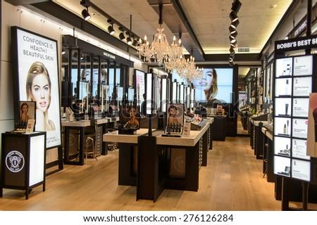 HONG KONG - MAY 05, 2015: Bobbi Brown Cosmetics boutique interior. Hong Kong's cosmetics market is highly competitive and having no sales taxes - stock photo