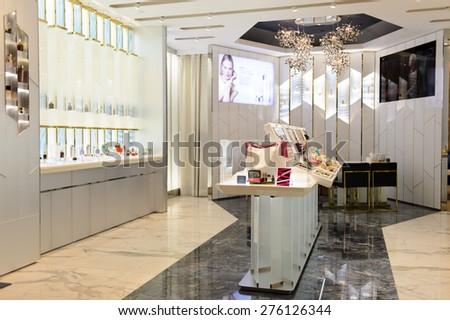 HONG KONG - MAY 05, 2015: cosmetics boutique interior. Hong Kong�s cosmetics market is highly competitive and having no sales taxes - stock photo