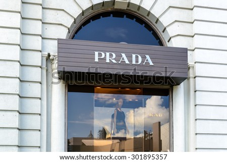 HONG KONG - MAY 2 : Exterior view of Prada Shop on May 2, 2015 in Hong Kong. Prada is an Italian luxury fashion house and was founded in 1913.