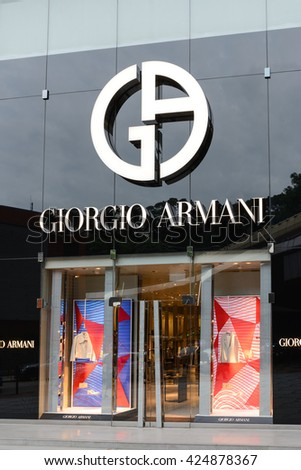HONG KONG - MAY 22, 2016: Giorgio Armani signage above store entrance in Hong Kong. Giorgio Armani S.P.A. is an international Italian fashion house headquartered in Milan, Italy.
