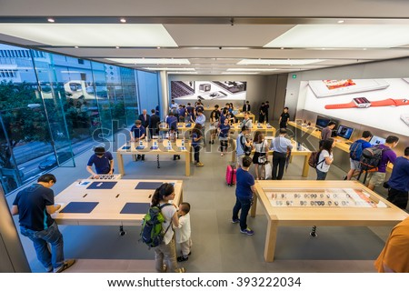 HONG KONG - MAY 26, 2015: interior of Apple store. Apple Inc. is an American multinational technology company headquartered in Cupertino, California - stock photo