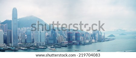 HONG KONG - MAY 12, 2014: Stunning panoramic view of Hong Kong Island on a cloudy day. Last year HK hosted more than 54 million visitors, most of them from the mainland.