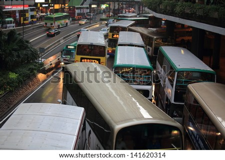 HONG KONG - MAY 13:The busy rushing hour on the road make traffic jam in Central on May 13, 2013. in 2013 Index of Economic Freedom that created by The Heritage Foundation, Hong Kong is the top rank - stock photo