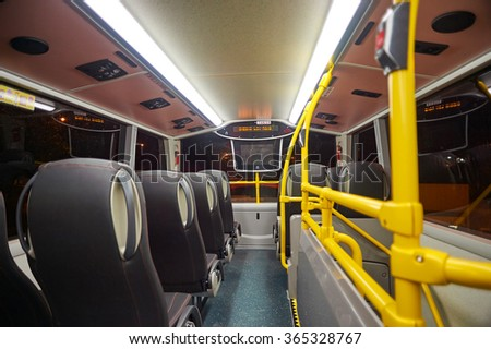 HONG KONG - MAY 05, 2015: upper deck of double-decker bus in Hong Kong. A double-decker bus is a bus that has two storeys or decks.