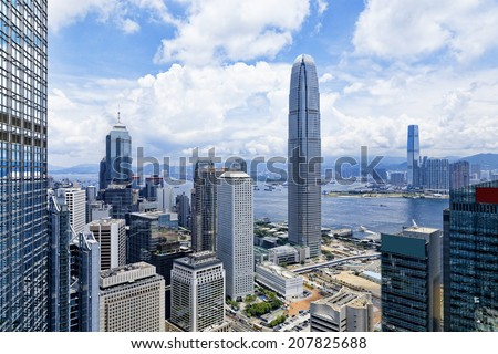 Hong Kong , Modern Buildings in finance district - stock photo