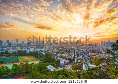 Hong Kong modern city at sunset - stock photo