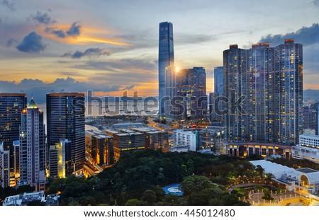 Hong Kong Modern City sunset - stock photo