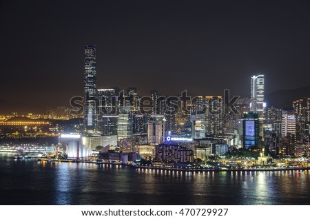 Hong Kong night landscape. Aerial view of Hong Kong, China at 25 April 2014.
