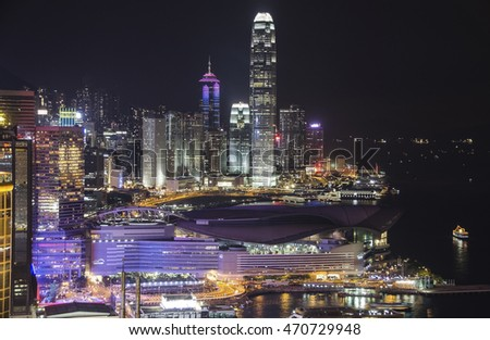 Hong Kong night landscape. Aerial view of Hong Kong from the roortop buildings, China at 25 April 2014.