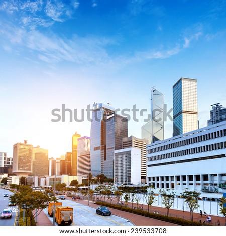 Hong Kong night, the city's modern high-rise. - stock photo