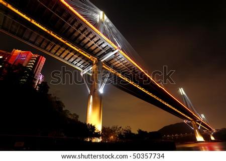 Hong Kong night, Ting Kau Bridge - stock photo