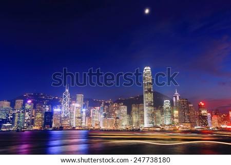 Hong Kong night view in panorama - stock photo
