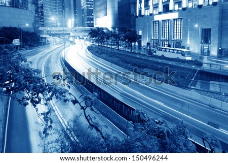 Hong Kong night view with car light
