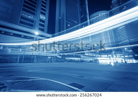 Hong Kong night view with car light - stock photo