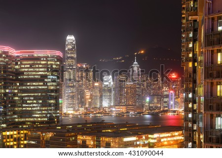 HONG KONG - NOV 9: Hong Kong Skyline and Victoria Harbour at night from Tsim Sha Tsui on Kowloon on Nov 9, 2015 in Hong Kong.