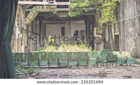 HONG KONG - NOV 9: The abandoned cinema in Cheung Chau, a historic island which a lot of traditions are well preserved in Hong Kong on November 9 2014. - stock photo