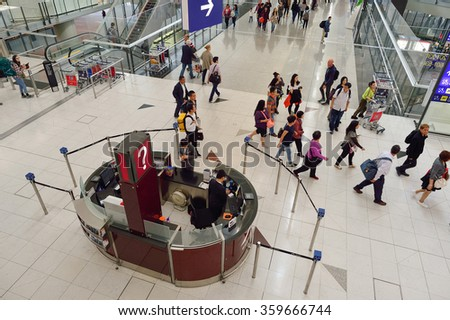 HONG KONG - NOVEMBER 03, 2015: interior of Hong Kong International Airport. It is the main airport in Hong Kong. The airport is located on the island of Chek Lap Kok