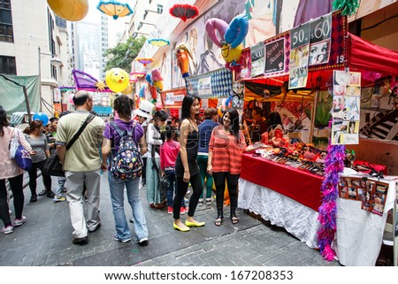 HONG KONG - NOVEMBER 26 2013: The busy LKF (Lan Kwai Fong Festival) in the party district of downtown central Hong Kong.